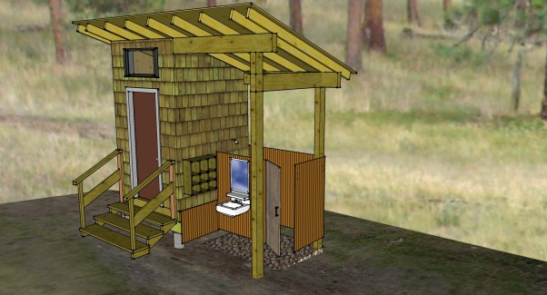 Composting toilet and shower