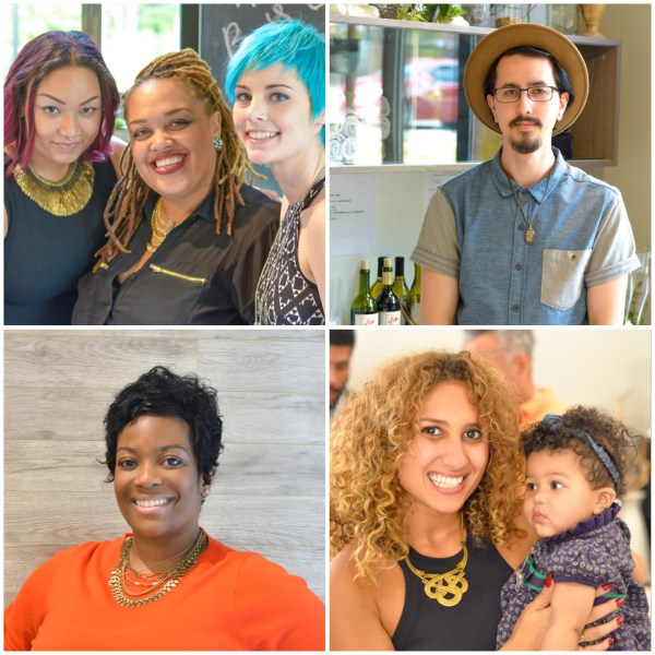 Clockwise from top left: Stylists Andrayah, Tish & Christine; Studio Manager, Ray; Studio Administrator, Donyata; Stylist, Niko (holding Candice's beautiful baby girl)