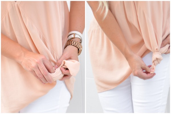 Simply gather the material on the side of the shirt and pull a knot through the bottom