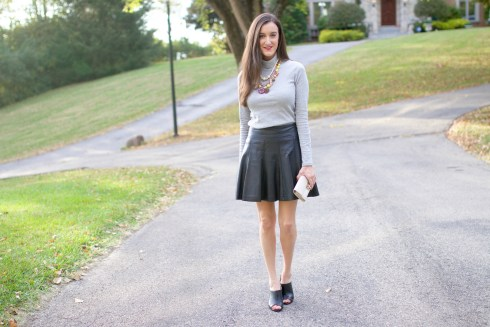 Grey Turtleneck Leather Skirt