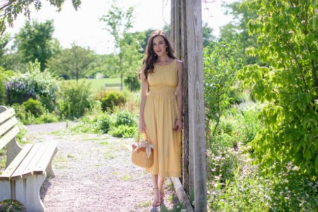Striped Yellow Midi Dress