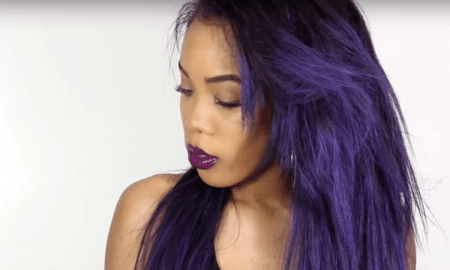 Girl with ombre purple hair