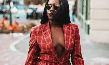 girl boss plaid suit
