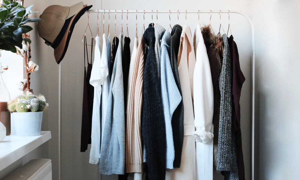 fashion rack with clothing