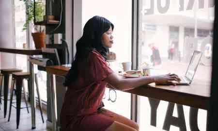 african american woman in coffee shop