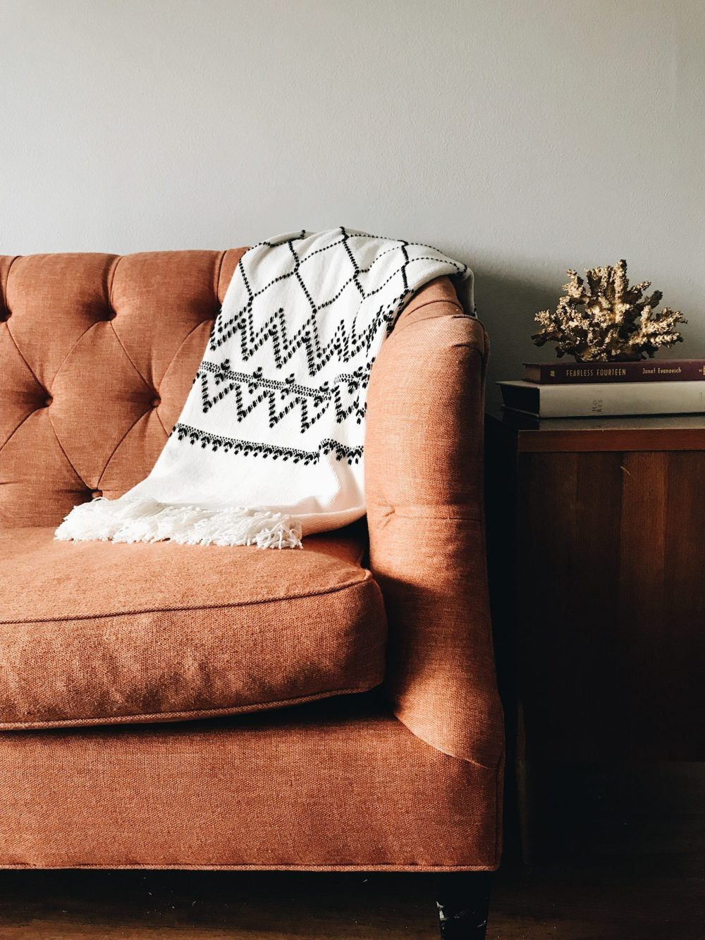 cozy sofa with throw blanket redesign