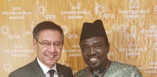 President of FC Barcelona Josep Maria Bartomeu and PRNigeria Chief Yushau Shuaib at IPRA GWA in Barcelona