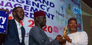 Commissioner Samuel Aruwan of Kaduna State receives SAEMA award from the Spokesperson of DSS, Dr, Peter Afunanya