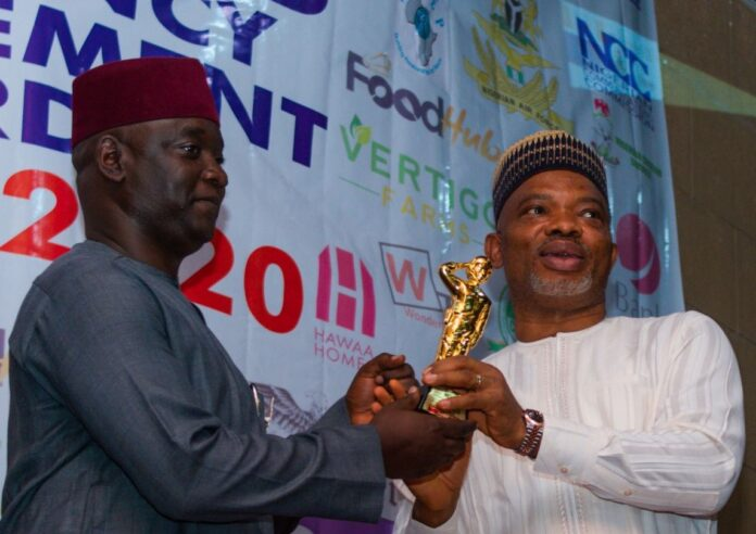 Commissioner Samuel Aruwan of Kaduna State receives award from the Spokesperson of DSS, Dr, Peter Afunanya