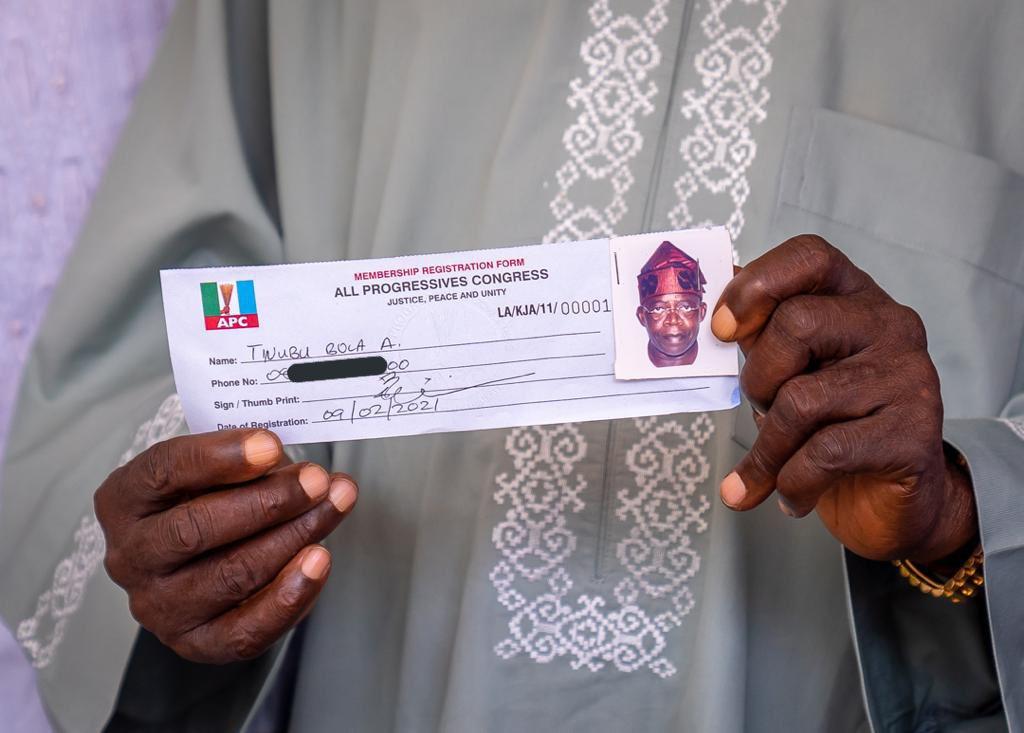 Error on All Progressives Congress membership revalidation slip of former Lagos State Governor Bola Tinubu