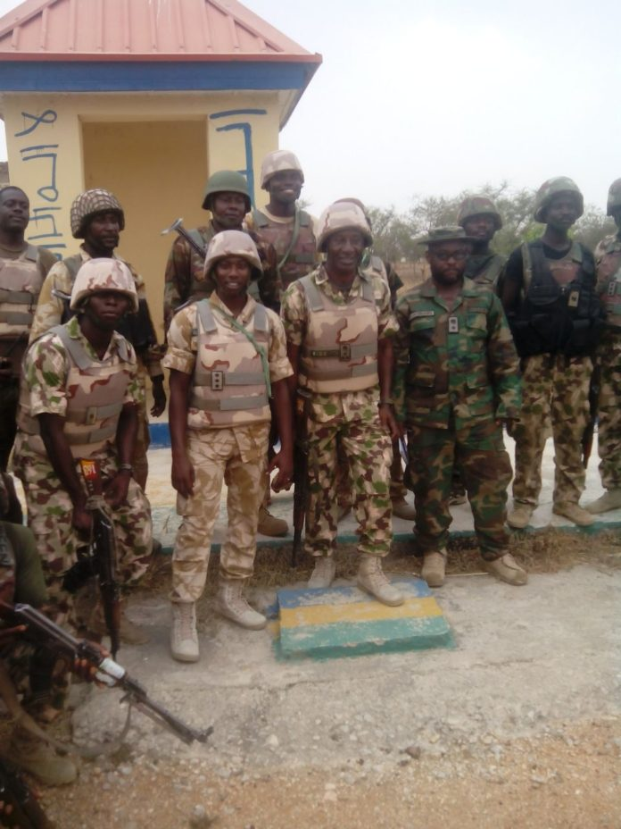 Troops-in-a-group-photograph-in-Police-Training-College-Gwoza-after-the-capture-of-the-town-from-terrorist in 2015