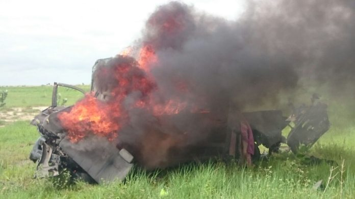 Terrorists' vehicle Destroyed