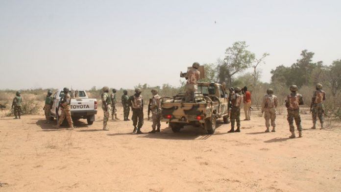army on patrol in Sambisa Forest