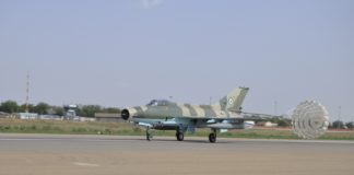 NAF F-7Ni fighter aircraft on touch down in Maiduguri after a mission