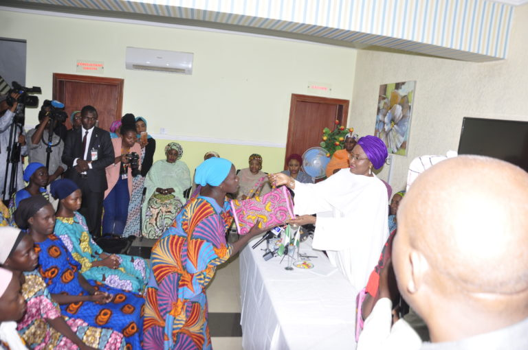 Wife of the President visits released Chibok girls