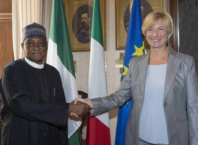 Defence Minister Mansur Dan Ali Receives Souveniur from Italian Defence Minister Sen Roberta Pinnoti