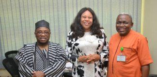 VC Noun Prof Abdallah, new DVC Joy Eyisi and her predecessor Prof Patrick Eya after handover