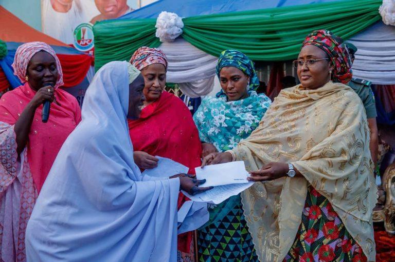 Aisha Buhari Commissions women center, visits patients