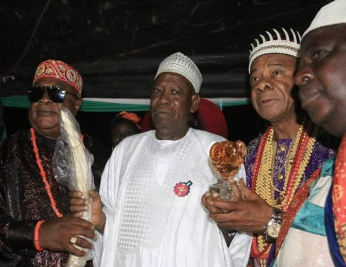Gov Ganduje with Igbo Chieftancy Title for President Buhari