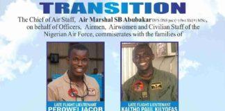 NAF Gallant Crew, Flight Liutanant Perowei Jabo, Flight Liutanant Kaltho Paul Kilyofas, Sergeant Auwal Ibrahim, Lance Corporal Adamu Nura, Aircraftman Meshack Ishmael