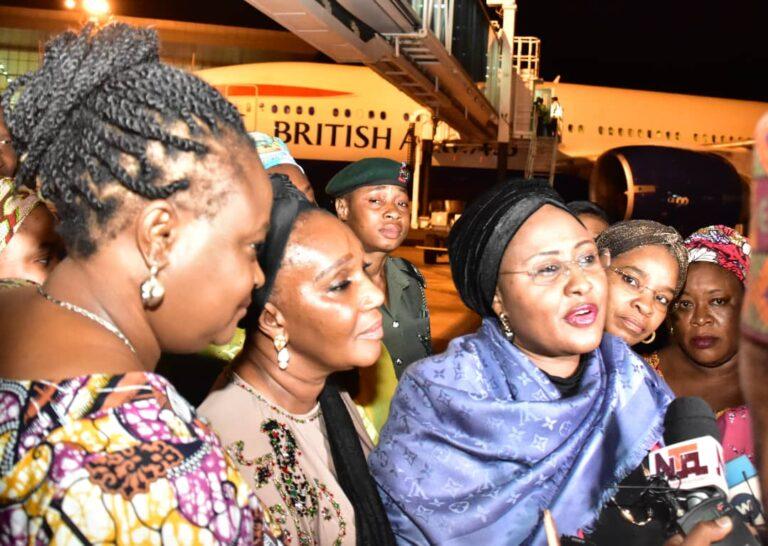 Aisha Buhari arrives Nigeria from London