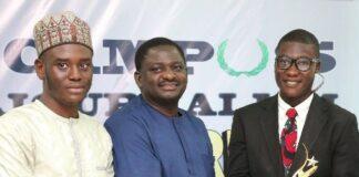 Presidential Spokesperson, Mr. Femi Adesina with Alfred Olufemi and Gidado Yushau at Campus Journalism Award 2018 in Abuja