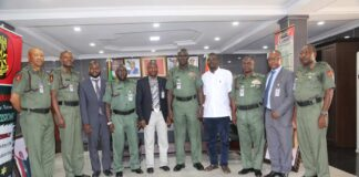 General Buratai, Military Officers with Air Comdr Yusuf Anas (Rtd) and Yushau Shuaib during a visit by Centre for Crisis Communication (CCC) in 2016