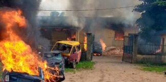 Endsars violence Police Station on Fire