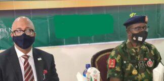 NCDC Boss Dr. Chikwe Ihekweazu and NYSC Boss Brig Gen Ibrahim Shuaibu