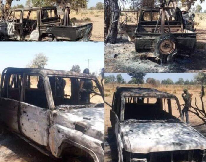 Boko Haram Vehicle destroyed in Askira Uba