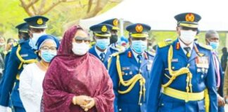 Air Marshal Sadique Abubakar and wife at Fly out Parade