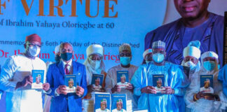 Senate President, Speakers and others at Oloriegbe Book Launch