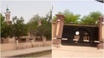 A mosque and church at Zungeru Road Kano