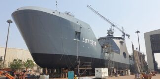 Nigerian Navy's newest landing ship tank launched in Sharjah, UAE.