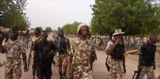 Nigerian Troops at Damboa after Eliminating Boko Haram on June 2, 2021