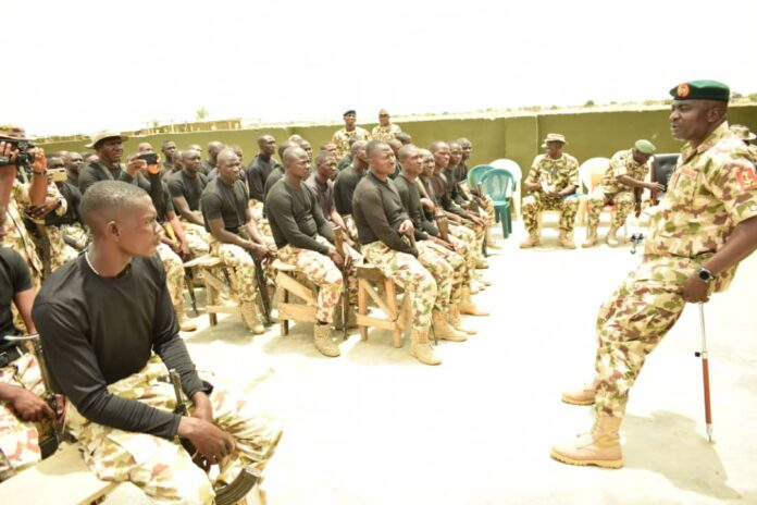 Theatre Commander, General Christopher Musa addresses the troops