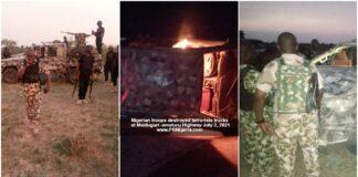 Nigerian troops destroyed terrorists trucks at Maiduguri-Damaturu Highway July 2021
