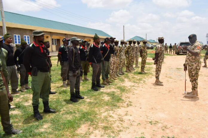 Theatre Commander Gen Christopher Musa with Stakeholders in Yobe