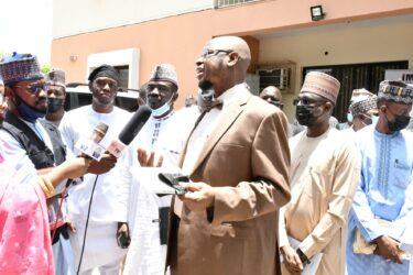 Dr Isa Pantami with Press at PRNigeria Centre Abuja