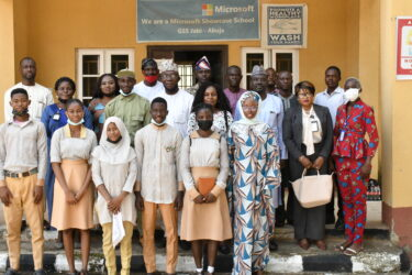 Guests, Staff and Students of GSS Jabi at the unveiling of NYSC CDS projects