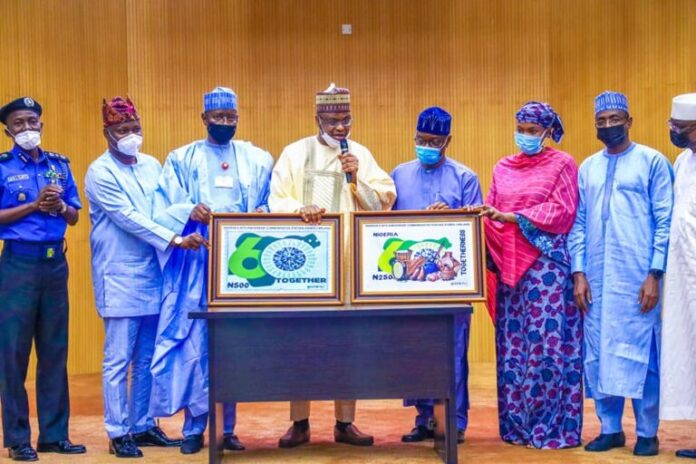 Dr. Ali Isa Ibrahim Pantami leading other delegation at the unveiling of Nigerian@60 Stamp duty