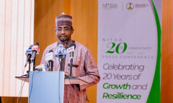 DG of NITDA, Engr. Kashifu Inuwa Abdullahi speaking during Press conference of NITDA@20