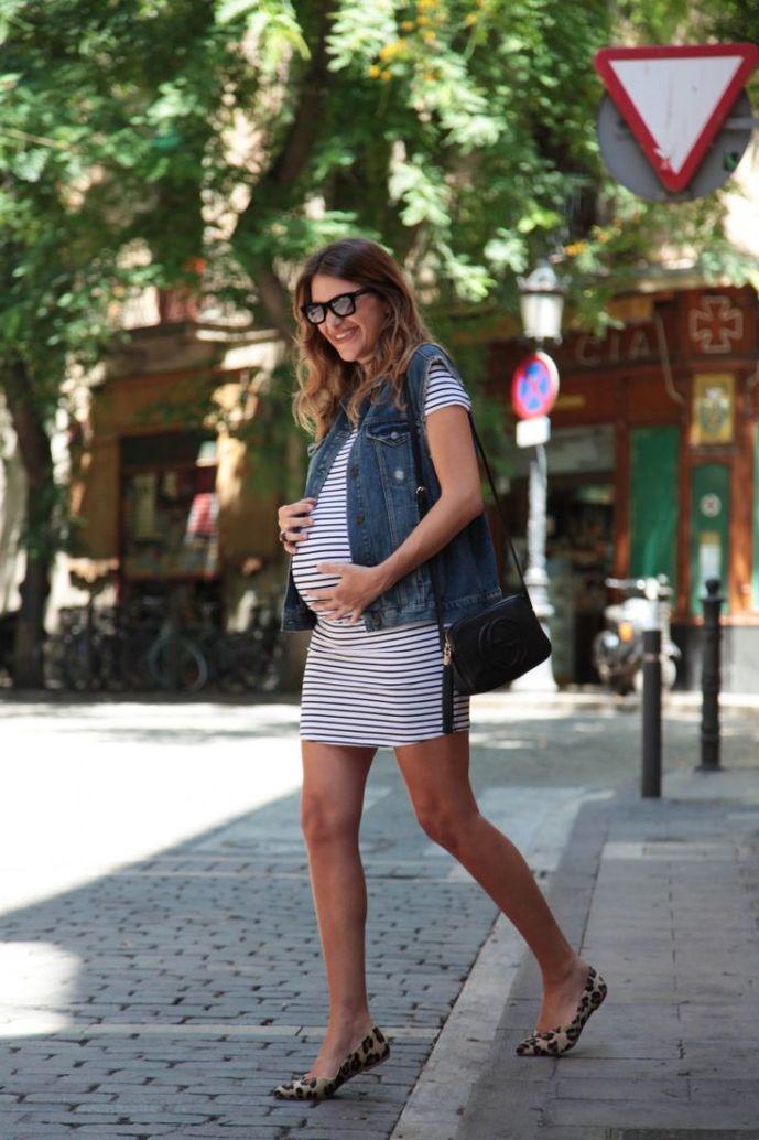 Looks colete jeans para grávidas
