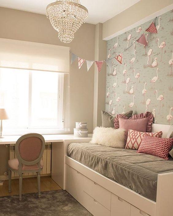 Quarto infantil cinza e rosa feminino e delicado Baú  ~ Quarto Rosa Infantil