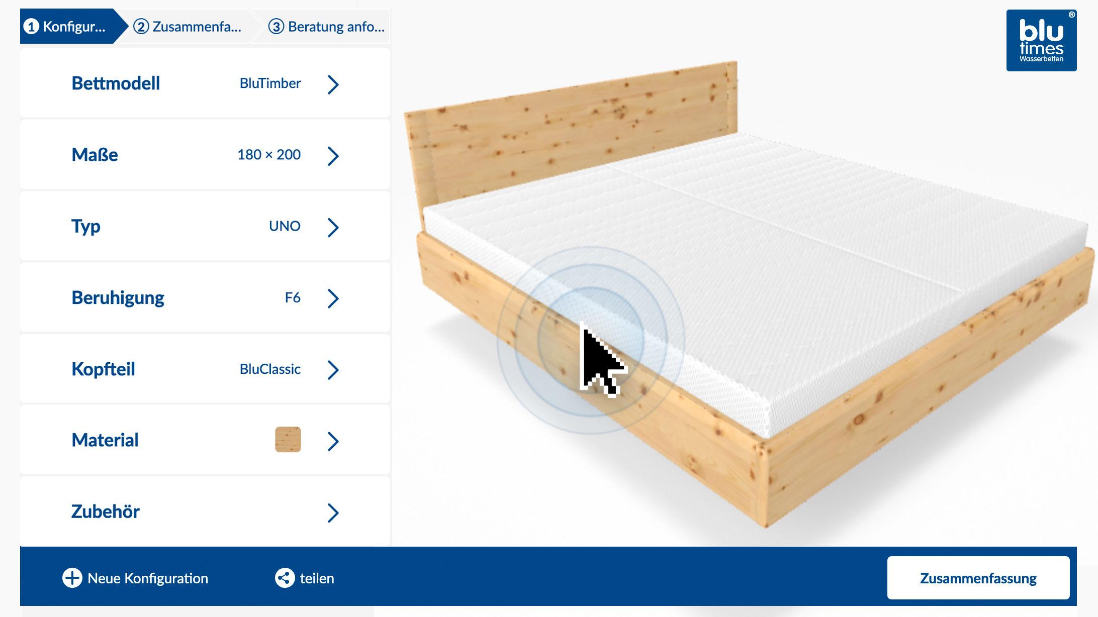Online-Konfigurator für das Wasserbett