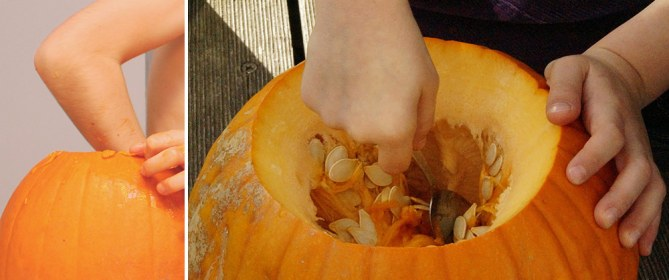 scooping out pumpkin insides