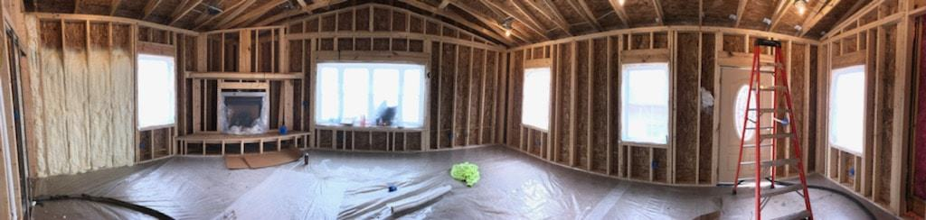 Using Spray Foam for a Country Home - panorama before the insulation spray