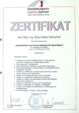 Zertifikat Baugutachter
