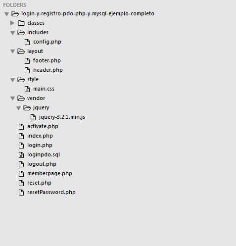 Estructura de Login y registro PDO PHP