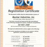 ISO 9001 registered 2014 baumar industries